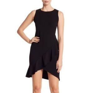 Bebe Black Crepe Sleeveless Ruffle Dress